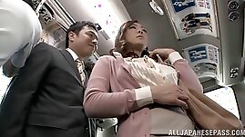 Sexy Asian babe plays with hairy pussy enjoying hardcore MMF threesome on a bus