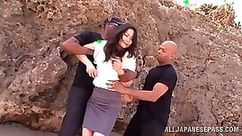 Japanese Babe Risa Murikami Fucked by Two Black Cocks at the Beach