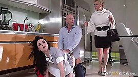 His maid is quite the whore and cleans his hard cock well