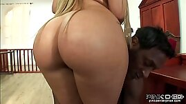 Curvy chick in black stockings gets pounded hard on the table