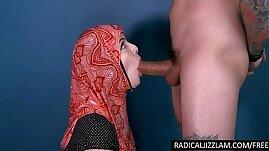 Infidel refugee with hijab sucks a big white cock for cum