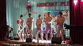 Horny guys exhib naked in public
