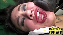 Goth chub Lily Brutal fed cum after rough cock insertion