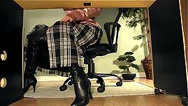 Secretary with boots under desk masturbation video